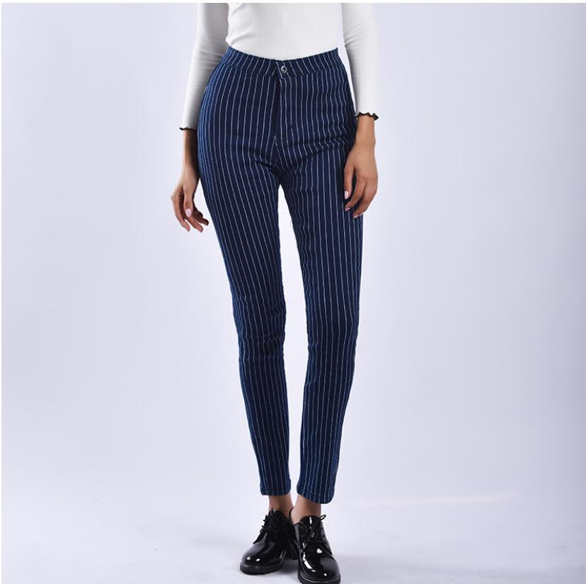 2019 Women Spring Autumn Stretch Striped Skinny Pants Elasticity Tight Push Up Jeans Strip Pencil S/3XL K1036