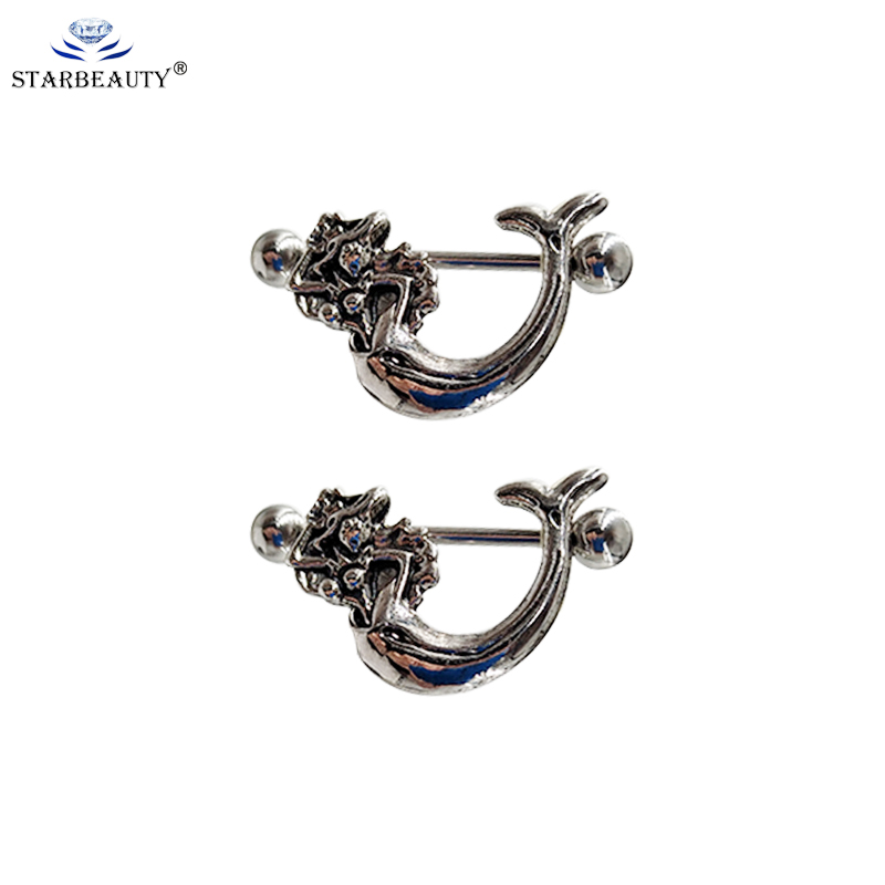 2Pcs Creative Dragon Nipple Ring Shields Earring Barbell