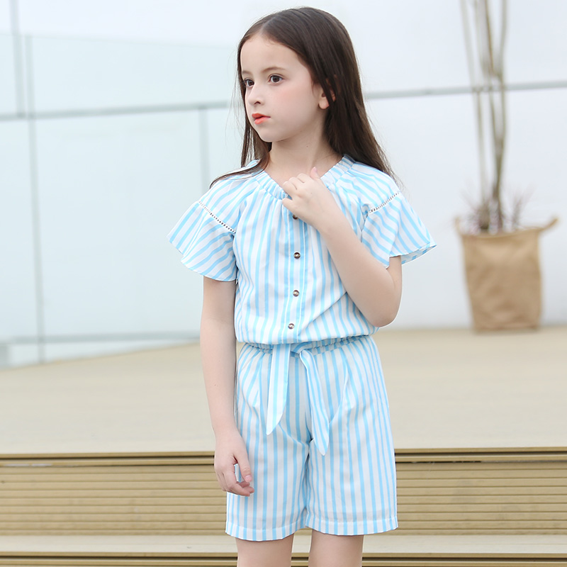 Girls Clothing Summer Sets 2017 New Girls Clothes Flare Sleeve Shirt + Striped Shorts 2 Piece Children Clothing Sets For 16 Year azel elegant latest new child dress for 2 3 year old girls vestidos fashion summer kid clothing little girls daily clothes 2017