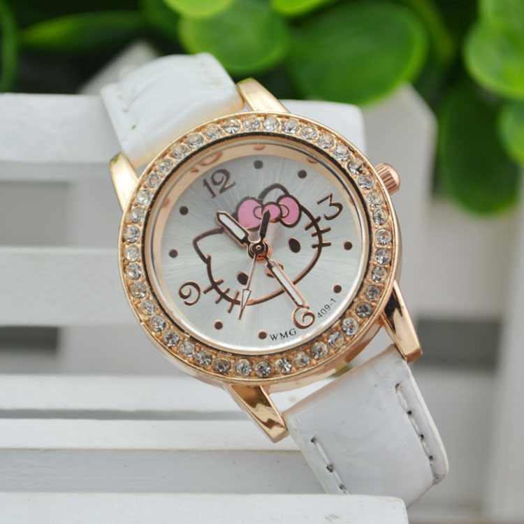 New Arrived hello kitty cartoon watches PU Leather Girls kids quartz watch Student watch mujer relojes Rhinestone children clock купить