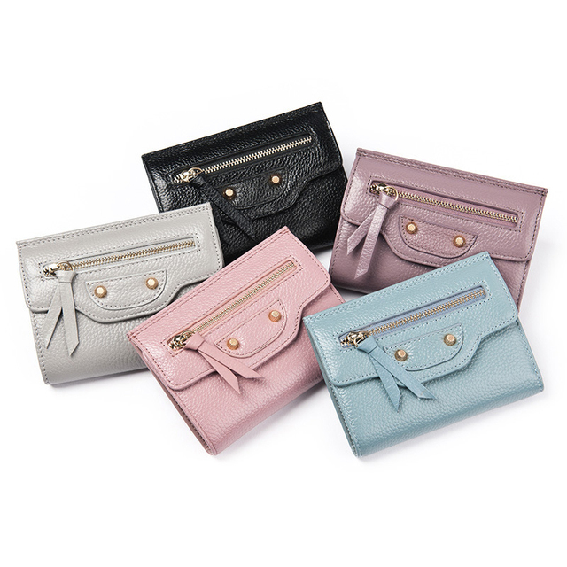 fe646812b0 Fashion Cow Real Genuine Leather Women Wallets Pink Luxury Brand Womens  Small Short Wallet Ladies Girl