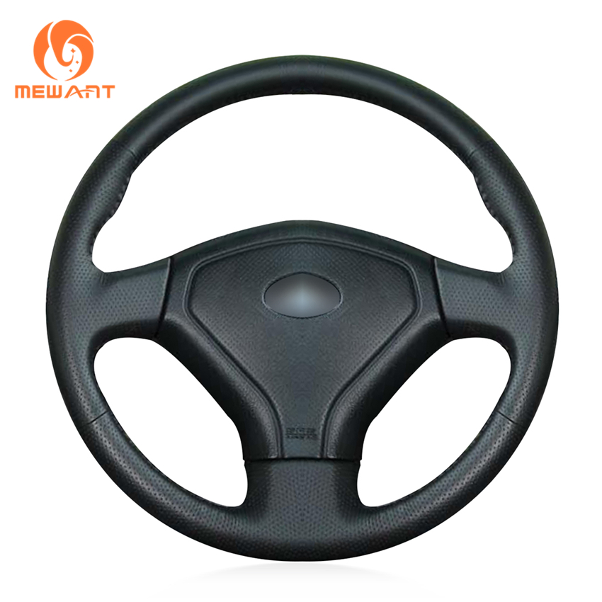MEWANT Black Artificial Leather Car Steering Wheel Cover for Subaru Forester 2005 top cowhide sew on all black genuine leather steering wheel cover for subaru forester at