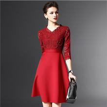 2016Spring Europe American High-end Big Brand Women Dress V-neck Temperament Slim Lace Dress Sexy Fashion Plus Size Vestidos 455
