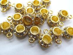 50 piezas de 8-12mm Micro Pave CZ Pandora agujero grande perlas rondelle Micro Pave Crystal Balck Gunmetal hallazgos encanto espaciador cuentas con