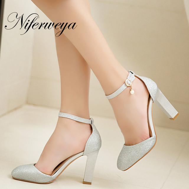 Fashion summer women pumps big size 31-45 sexy Square Toe Buckle Strap silver ladies office high heel shoes zapatos mujer