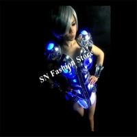 DM001 красочный свет бальный костюм платья ткань Одежда для танцев/бар бюстгальтер/пикантные брони партии этап модель диско DJ show
