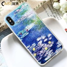 CASEIER Phone Case For iPhone 7 8 Plus Soft TPU Silicone Coque X 6 6s Monet Painting Water lilies Shell