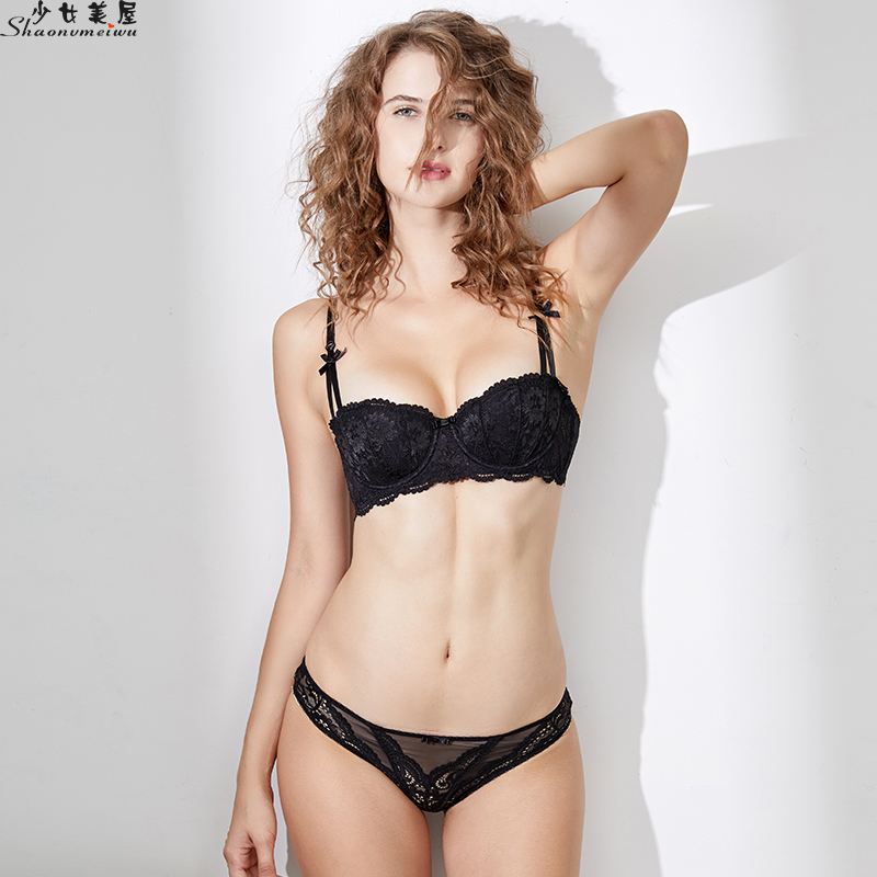 Shaonvmeiwu WWinter 1/2 cup lace thin sexy lingerie bra set black