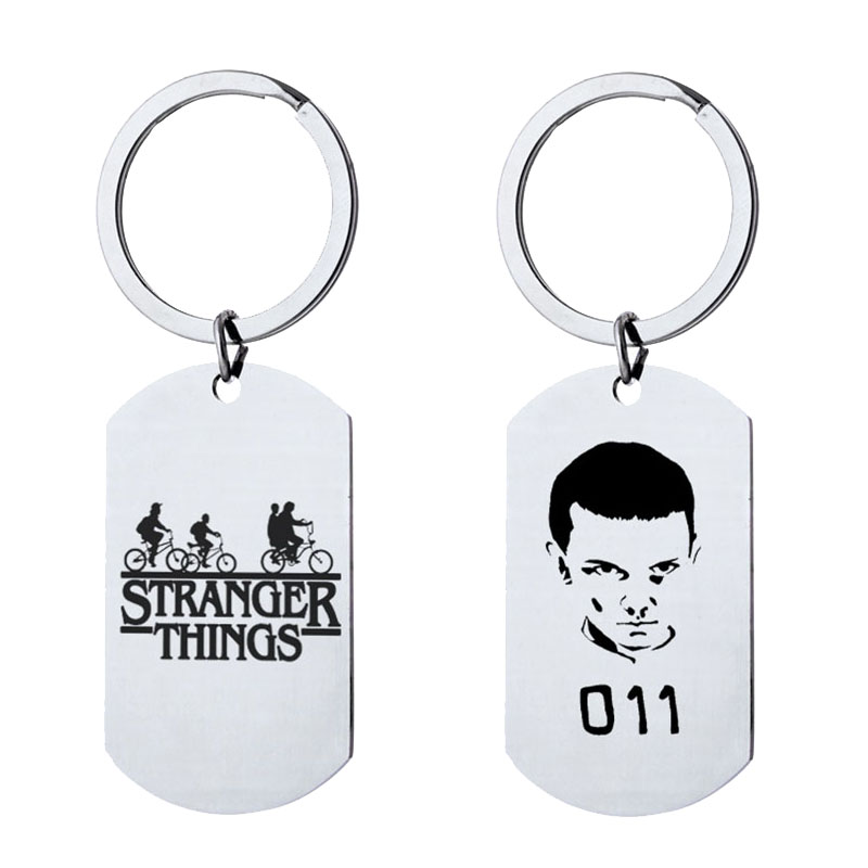 Movie Stranger Things 011 Keychain Charm Figure Toy Pendants Gift For Women Cosplay Fashion Jewelry Key Ring