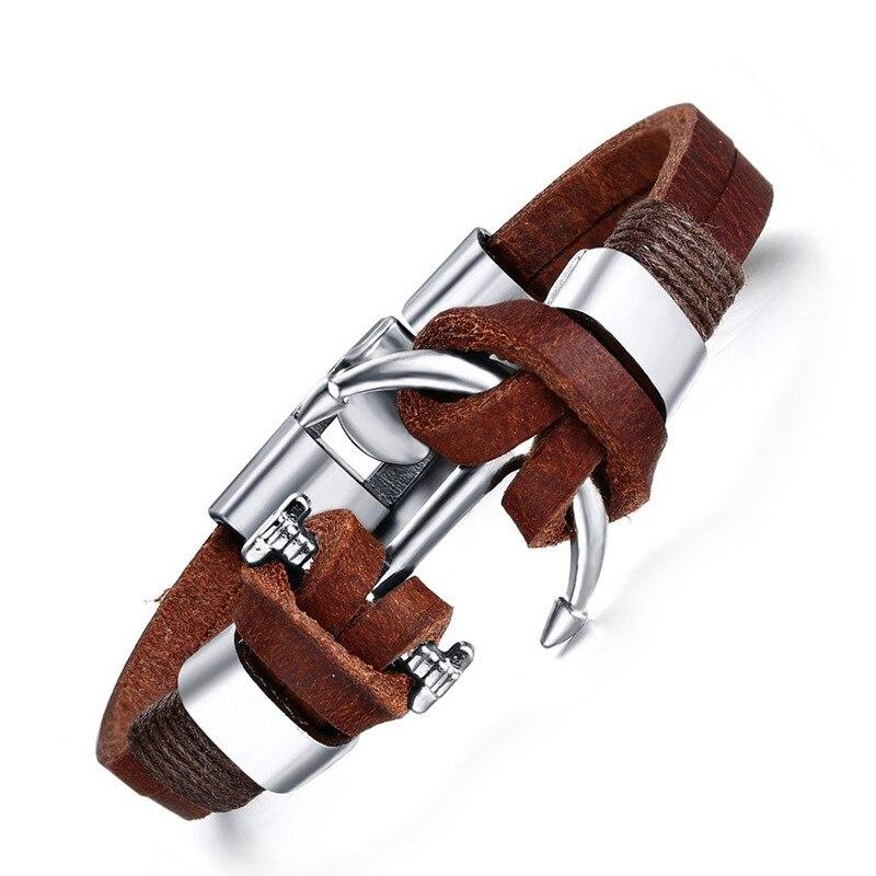 Mens Unique Anchor Charm Bracelet Black/Brown Antique Braided Style Genuine Leather Bracelets For Male Vintage Jewelry 21CM