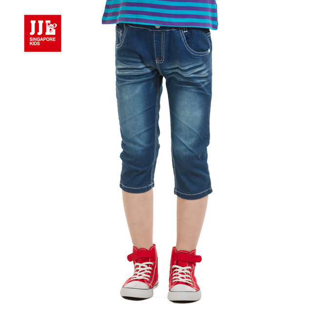 boys  jeans causal knee length pants for boys jeans elastic  pants kids brands summer clothing size 4-11 years