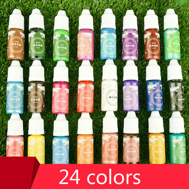 Handmade Crystal epoxy resin for jewelry making Glue Color Pearlescent Coloring Dye Colorant Pigment Handmade Art Tool 24 colors