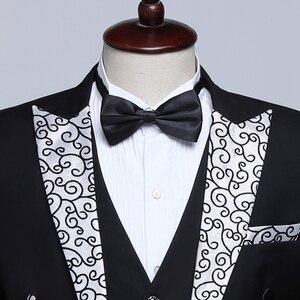 Image 4 - PYJTRL זכר אופנה שחור כהה כחול לבן פרחוני דש חתונה חתנים מעייל פראק טוקסידו ערב מסיבת תחפושות זמרים חליפת גברים