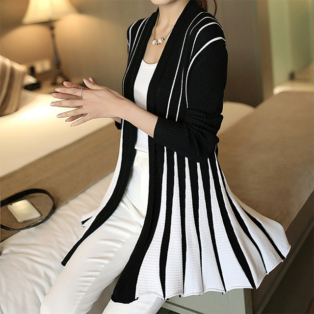 Women Plus size sweater Knitting cardigan 2016 long sleeve Black  White Stripe Ladies Fall Slim Spring Autumn Tops Women Sweater