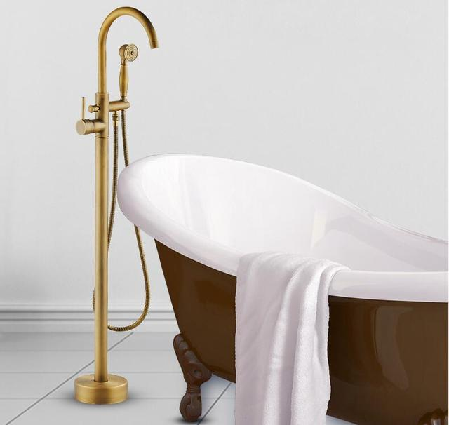 Modern Free Standing Bathtub Faucet Tub Filler Fashion Antique Brass