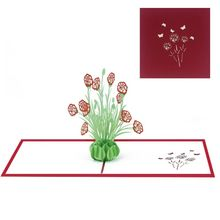 Greeting Card 3D Carnation Flower Mothers Day Mom Birthday Gifts Cards Handmade Floral Carved Crafts Decoration