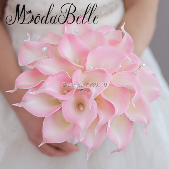 Beaded Pink Wedding Bouquets Calla Lilies Vintage Artificial Flowers Bridal Bouquet Silk Roses Ribbon Bridesmaid Bouquet Mariage