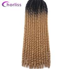 """Chorliss 22 """"Мамбо твист плетение волос крючком Твист косы Синтетические пряди для наращивания волос Черный Блондинки синий фиолетовый красный 13 Цвета 8 шт."""