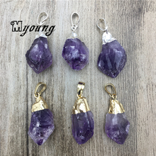Free Form Raw Amethysts Quartz Nugget Point Charms, Natural Purple Crystal Stone Pendant For DIY Jewelry MY2045