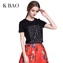 Women T-Shirt Summer Solid Color Black Heavy Tablets Flowers Appliques Round Collar Casual Style Women Tee Female Tops(China (Mainland))