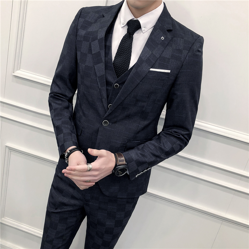 2018 Spring And Summer New Suit Men's Three piece Professional Business Casual Handsome Lattice Slim Trend Fashion Simple