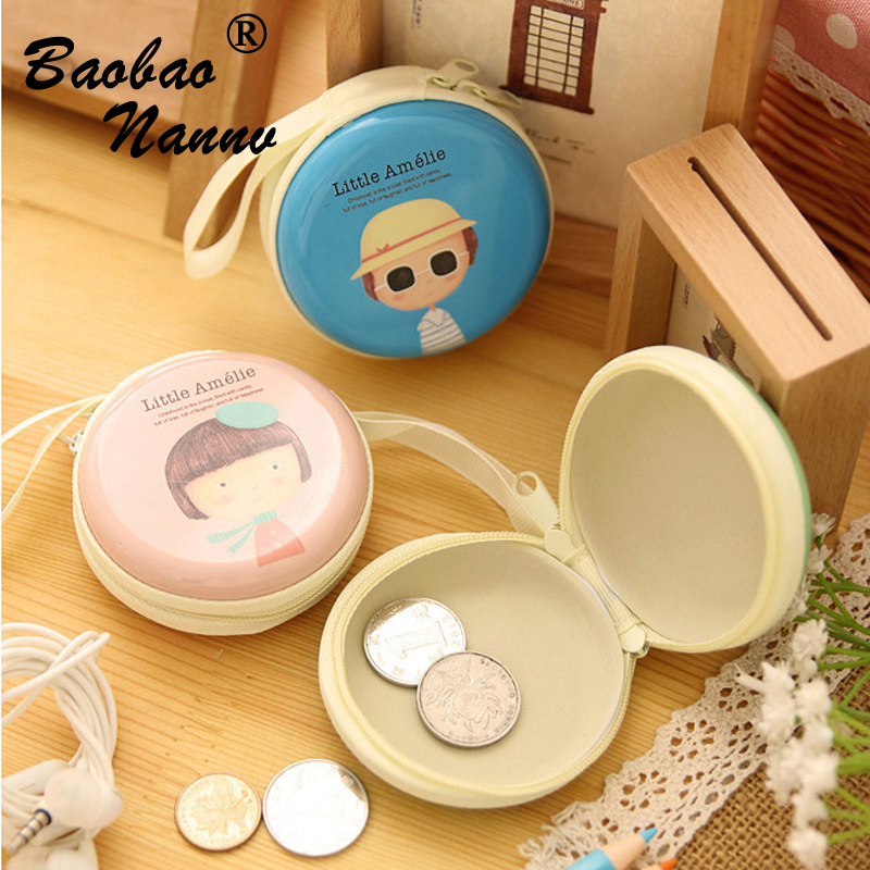 Girl Cartoon Cute Coin Purse Holder Key Wallet Children Kids Purse Female Card Holder Bag Tinplate Headset Box Case Storage Gift