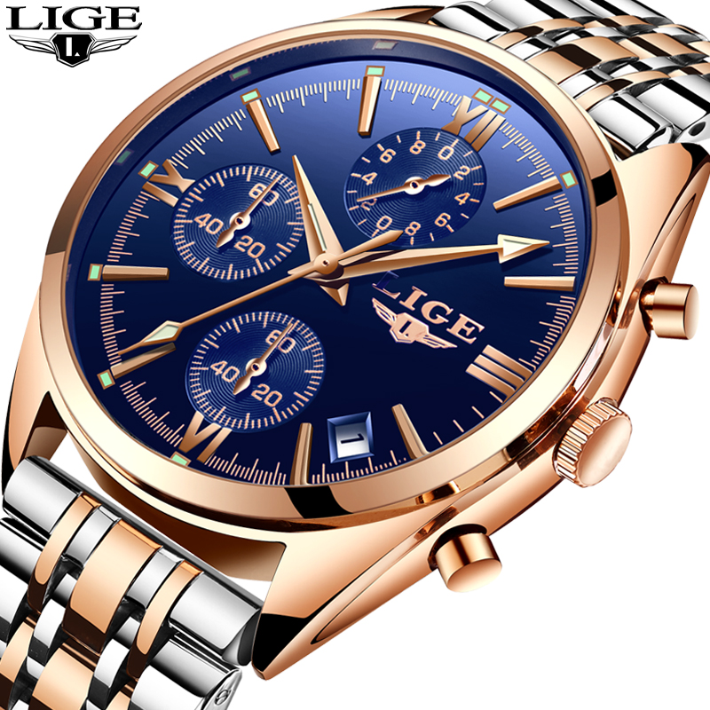 Relogio Masculino LIGE Watch Men Casual fashion Quartz Clock Mens Watches Top Brand Luxury Full Steel Business Waterproof Watch men fashion quartz watch mans full steel sports watches top brand luxury cuena relogio masculino wristwatches 6801g clock