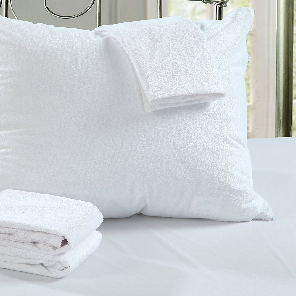 LFH 50X70CM Terry Waterproof Pillow Protector For Bed Bug ...