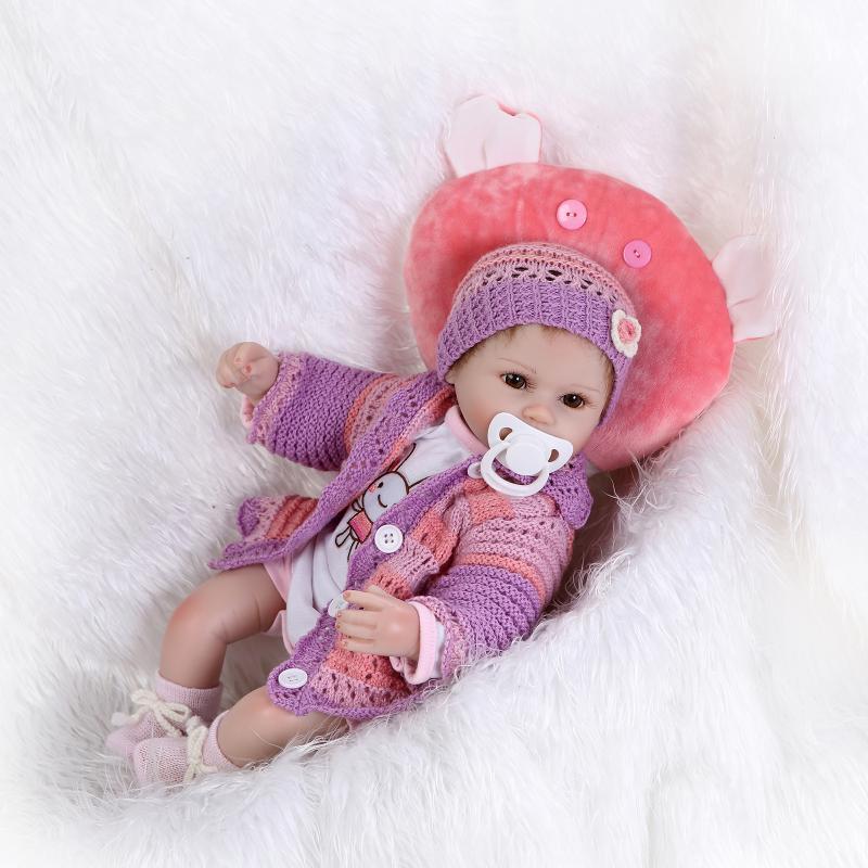 Nicery 16-18 pouces 40-45cm Reborn bébé poupée bouche magnétique souple Silicone réaliste fille jouet cadeau pour enfant noël violet vêtements - 3