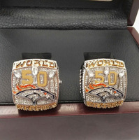 Factory Direct Sale 2 Piece 2015 Denver Broncos Super Bowl Replica Championship Rings With Wooden Boxes