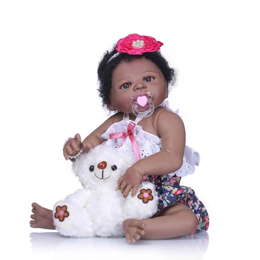 NPKCOLLECTION Réaliste Reborn Bebe Fille Poupée 22 Pleine Vinyle De Silicone Corps Nouveau-Né Poupée Noir Peau Jouer Maison Jouet Cadeau boneca