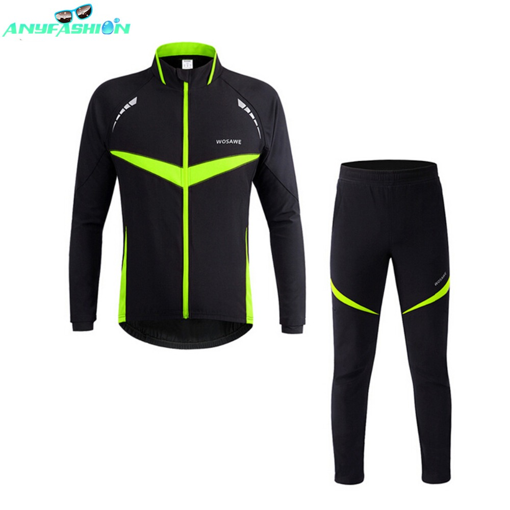 Winter Fleece Cycling Sets Bicycle Thermal Jacket Men's Bike Trousers ropa ciclismo Winter Cycling Clothing Sportswear