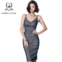 Autumn And Winter Women Dress Vestidos De Festa Bandage Dark Grey Colour V Neck Sexy Slim