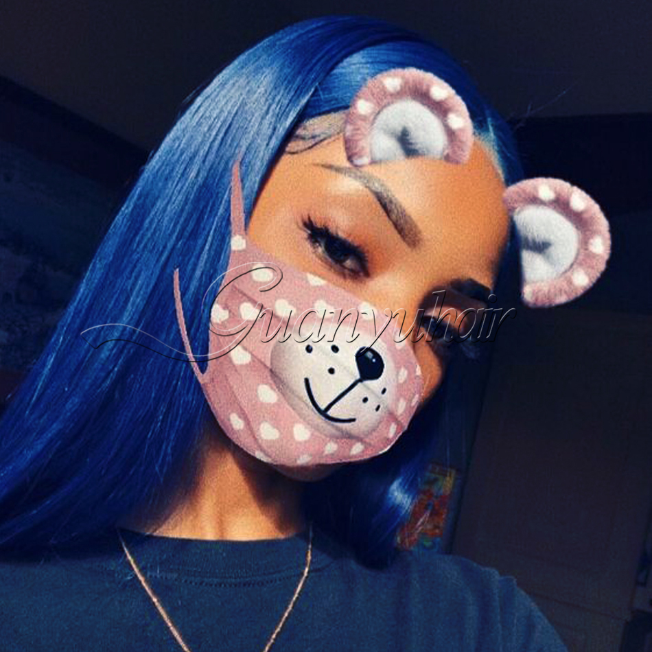Guanyuhair Blue Full Lace Wigs Human Hair Straight Pre Plcuked Bleached Knots Lace Front Wig With baby Hair 150% Density