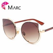 MARC UV400 WOMEN Cat Eye Sunglasses  Gradient Metal Green Blue Mirror Oculos Eyewear