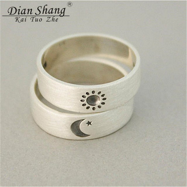 Dianshangkaituozhe Vintage Sun Moon Engrave Vintage Wedding Ring Set
