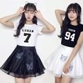 Kpop EXO roupas de verão feminino veados Han Wu Yifan com todos os duas peças de roupa T-shirt de Manga Curta Vestido de Traje k-pop k pop