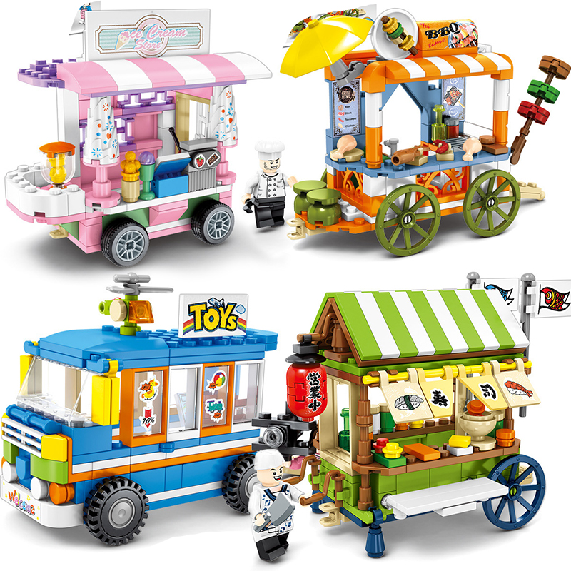City Street View Compatible Legoings Friends Creator Ice Cream Truck Food Store Buildings Blocks Educational Toys For ChildrenCity Street View Compatible Legoings Friends Creator Ice Cream Truck Food Store Buildings Blocks Educational Toys For Children