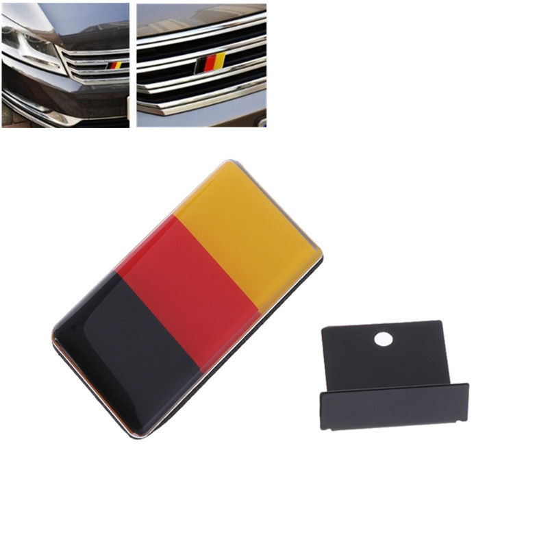 1pc German Flag Grille Emblem Badge For VW for <font><b>Volkswagen</b></font> Scirocco <font><b>GOLF</b></font> <font><b>7</b></font> <font><b>Golf</b></font> 6 Polo Tiguan for Audi A4 A6 Car Accessories image