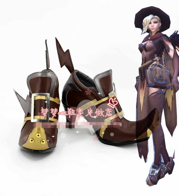 [STOCK]2018 Hot Game Mercy Witch Ver. Cosplay Shoes Brown Boots Custom-made Cosplay Prop For Halloween Carnival Free Shipping.