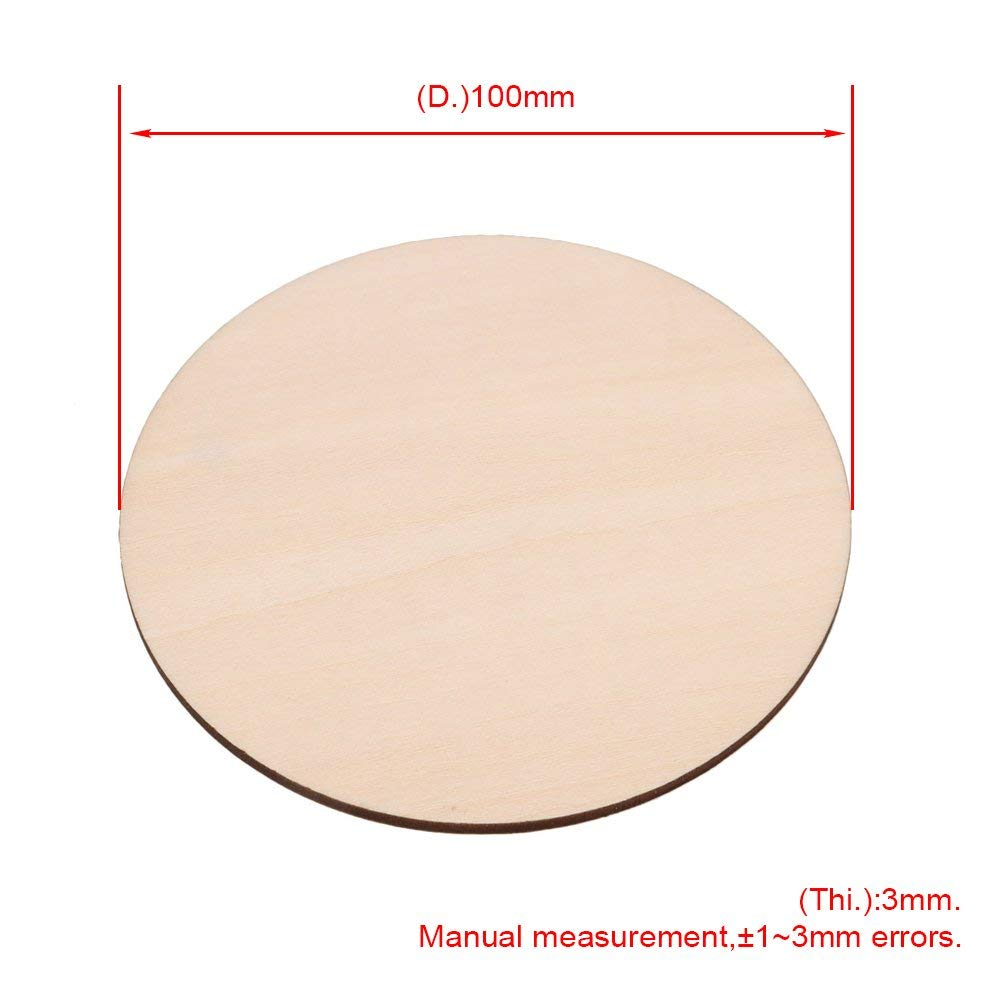 10Pcs 100mm Diameter Blank Round Wooden Pieces Natural Unpainted Wood Sheets For Wood DIY Craft Carving Wood Decoration