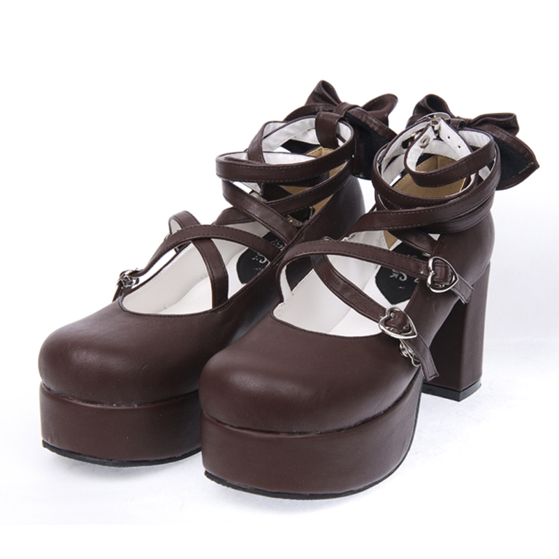 ФОТО Custom Color Japanese Classic Lolita Cosplay Shoes PU Leather Criss Cross Chunky High Heel Bowtie Platform Shoes Free Shipping