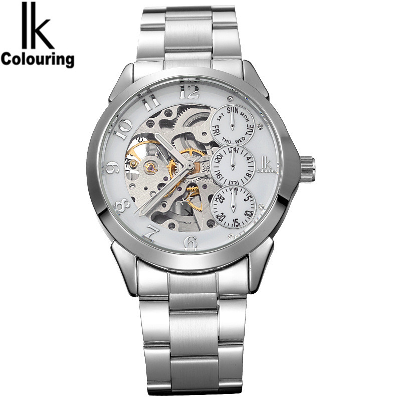 2017 Luxury IK Casual Relogio Masculino Men's Skeleton Dial Hardlex Auto Mechanical Wristwatch with Gift Orignial Box Free Ship casual watch 2017 women s four leaf clover floral crystal skeleton auto mechanical wristwatch with box free ship