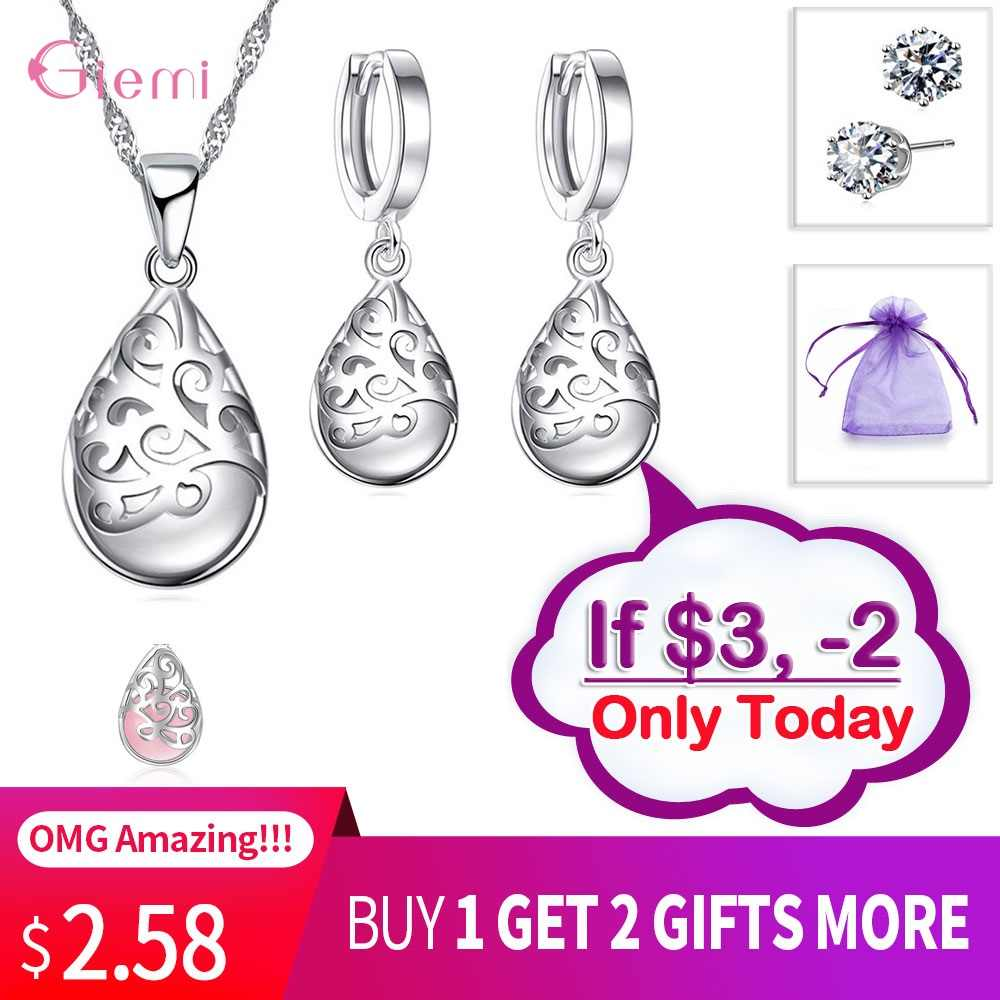 Nobel Opal Jewelry Sets 925 Sterling Silver Waterdrop Moonstone Hollow Flower Carving Pendant Necklace Drop Earrings for Women
