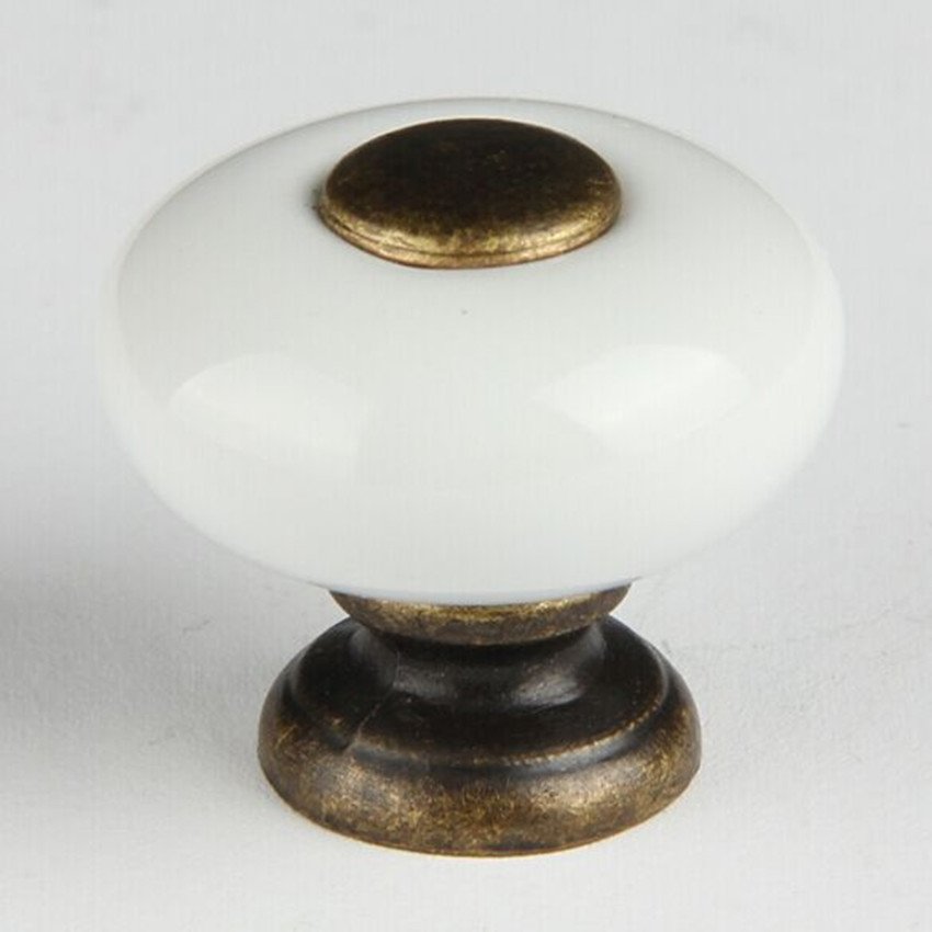 25mm white ceramic shoe cabinet drawer knob pull bronze dresser cupboard door handle vintage fashion furniture