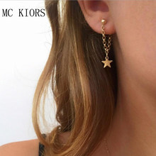 2018 New Metal Star Gold Color Long Drop Earrings For Women Simple Hot Fashion Jewelry Brinco Girl Gift Bijoux Wholesale(China)