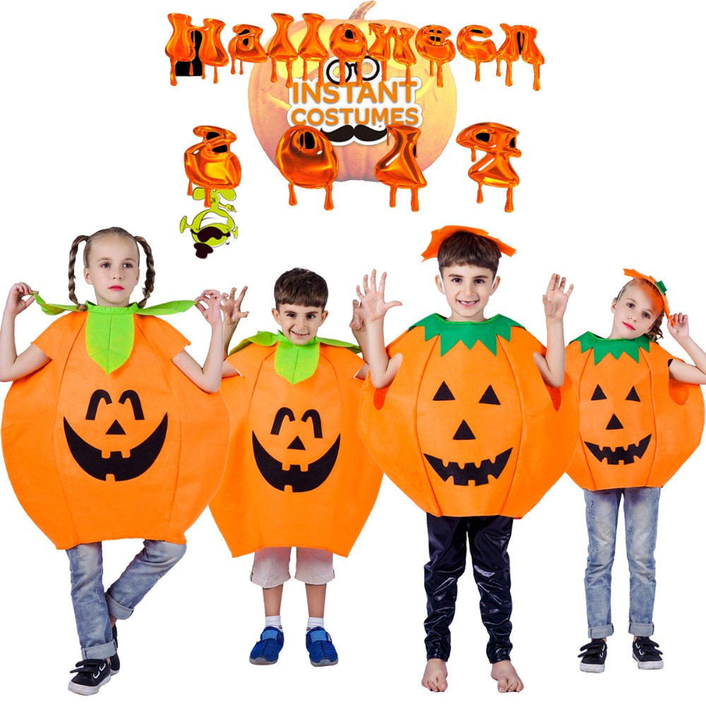 Halloween Children Pumpkin Costume Cosplay Lovely Kids Pumpkin Suit One Size Role Play Girls &Boys Pumpkin Costumes