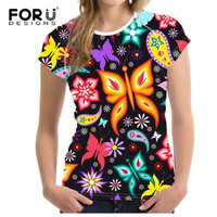 FORUDESIGNS 3D Butterfly Printed T Shirt For Women Summer Novelty Girls Tshirts Fashion Cool Ladies Short