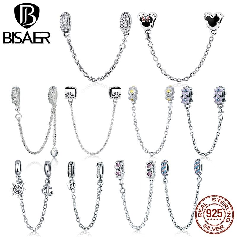 Authentic 925 Sterling Silver Charme 5 Estilos Bowknot Minnie Rolha Contas Corrente de Segurança Encantos fit PAN Charm Bracelet Jóias DIY
