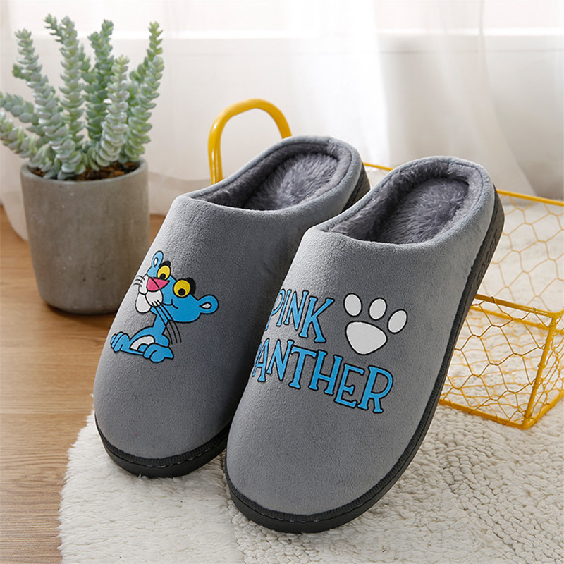 Cartoon Pink Panther Winter Slippers Men Indoor Non-slip Warm Home Shoes Thick-soled Rabbit Wool Cotton Slippers Warm Slippers